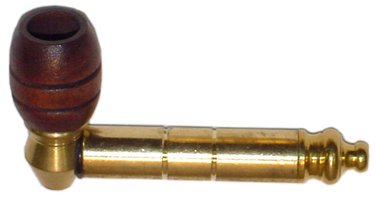 SMB03 - Brass Tobacco Stem Pipe with Wooden Bowl