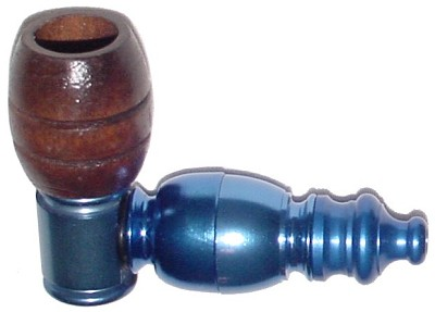 CMA11 - Small Anodized Tobacco Pipe with Metal Chamber and Wooden Bowl
